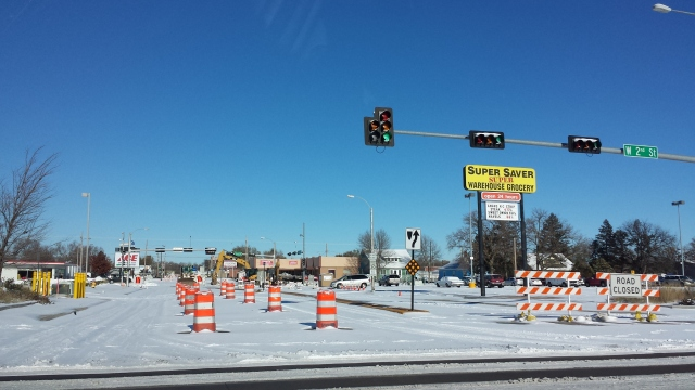 Road Work on Broadwell at Third